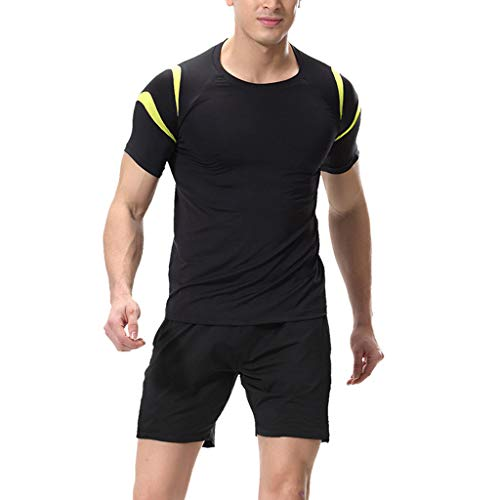 Mens Fitness Bodybuilding Skin Tight-Drying Short Sleeves Shirt Tops Pant Suit Yellow