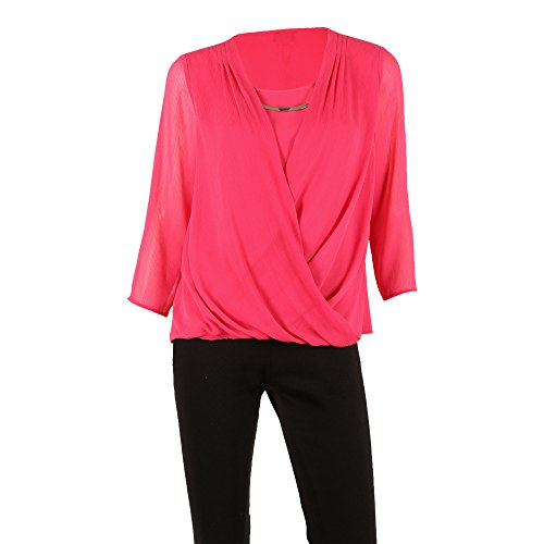 Sheer Pink Berry (SIONI Women's 'Hi Twist' Woven Blouse 3/4 Sleeve Sheer Front Layer With Metal Necklace,Hot Berry,X-Large)