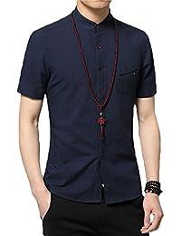 Men's Slim Fit Short Sleeve Banded Collar Solid Linen Shirts