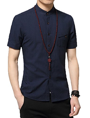 Plaid&Plain Men's Slim Fit Short Sleeve Banded Collar Solid Linen Shirts DarkBlue XL ()