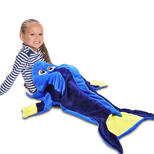 Catalonia Kids Hooded Snuggle Tail Blanket,Blue Tang Fish Dory Super Soft Plush Sleeping Bags for Toddler Children Teens Boys Girls, Gift Idea (Tangs Store)
