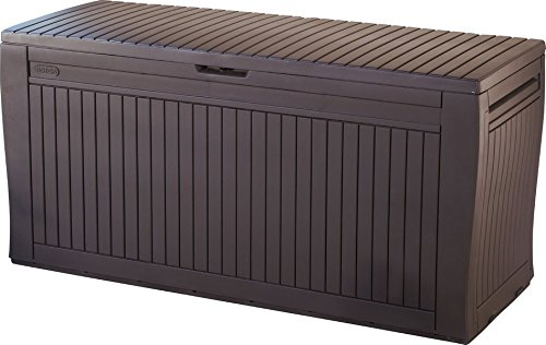 Functional 71 Gallon Resin Deck Box, Provides Extra Seating, Natural Wood Grain Texture, Lockable, Waterproof, All-Weather, Great Choice for Organizing Any Outdoor Living Space by Jaxterrific