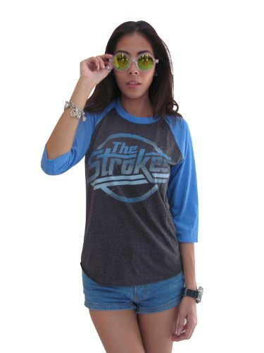 Bunny Brand Women's The Strokes Magna logo Music Raglan T-Shirt Gray - Matted Signed Print