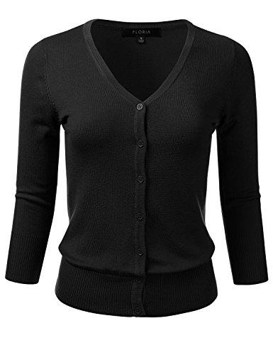 FLORIA Women's Button Down 3/4 Sleeve V-Neck Stretch Knit Cardigan Sweater Black M ()