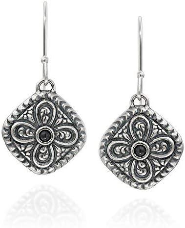 Estilo antiguo de plata de ley 925negro Onyx Gemstone pendientes con adornos en forma de diamante diseño de flores
