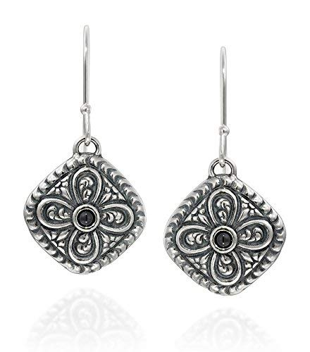- Antique Style 925 Sterling Silver Black Onyx Gemstone Earrings Diamond Shaped With Ornate Floral Design