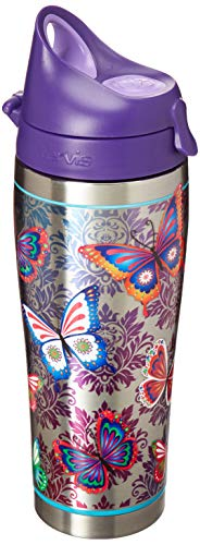 Tervis 1298877 Butterfly Motif Stainless Steel Insulated Tumbler with Purple Lid, 24oz Water Bottle, Silver
