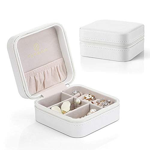 Vlando Small Travel Jewelry Box Organizer - Faux Leather Storage Case for Rings Earrings Necklace - Best Gifts Choice for Girls Women, Pearl White (Mini White Boxes)