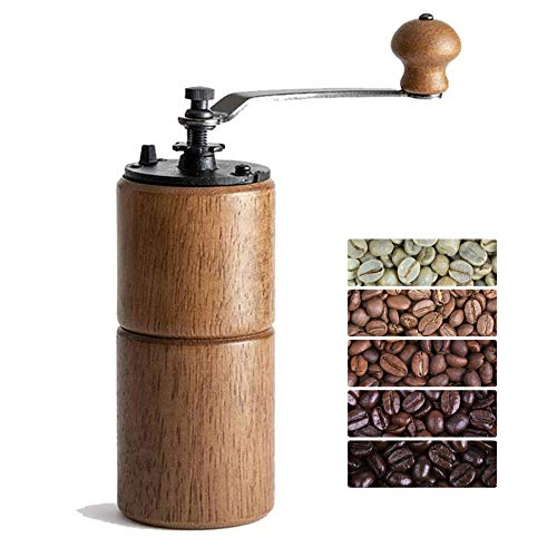 Fumao Hand Coffee Grinder Wooden Coffee Mill with Ceramic Burr, Large Capacity Dark Wood, Cast Iron Manual Crank, Portable Adjustable (Dark wood) (Coffee Mill Ceramic)