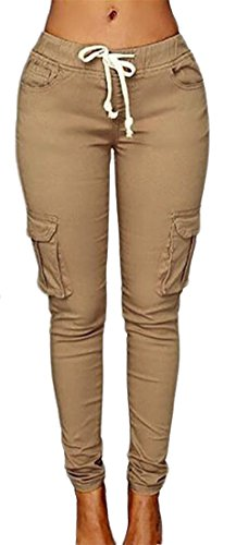 Cruiize Womens Casual Stretch Drawstring Skinny Solid Cargo Jogger Pants Light Khaki Large