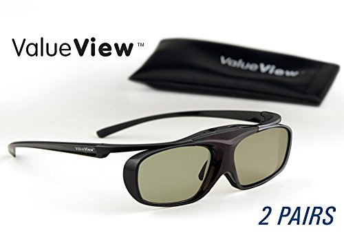 SONY-Compatible ValueView 3D Glasses. Rechargeable. TWIN-PACK