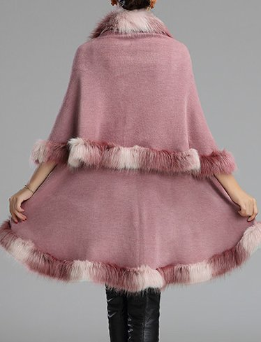 Cuir Helan fausse couche Rose Style femmes Couches Cape Cap Chaud fourrure double OvyfnWO74