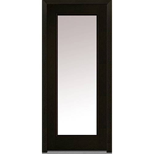 National Door Company Z008238R Fiberglass Prehung In-Swing Entry Door, Right Hand, Clear Glass, Full Lite, Oak in Espresso, 32'' x 80'' by National Door Company
