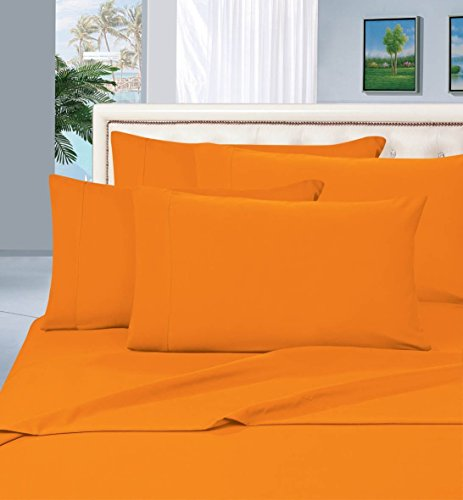 Elegant Comfort Luxurious Bed Sheets Set on Amazon 1500 Thread Count Wrinkle,Fade and Stain Resistant 4-Piece Bed Sheet Set, Deep Pocket, Hypoallergenic - Full Elite Orange