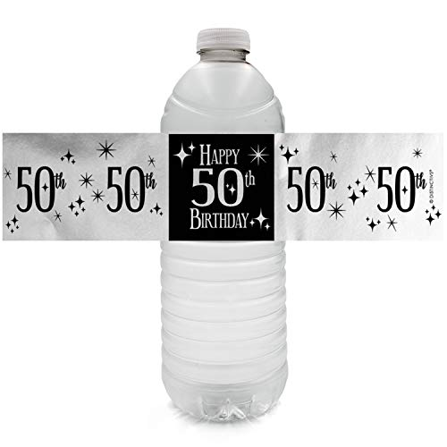 Black and Silver 50th Birthday Party Water Bottle Labels | Shiny Foil | 24 Count]()
