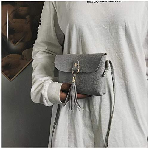 grigio Grigio borsa a a pelle mano in Borsa morbida moda Dimensione Moontang Nero nappa messenger Piccola mini vintage Colore moda tracolla R8waxqz5q