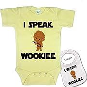 I Speak Wookee   Custom Printed Star Wars Baby bodysuit onesie & Matching bib