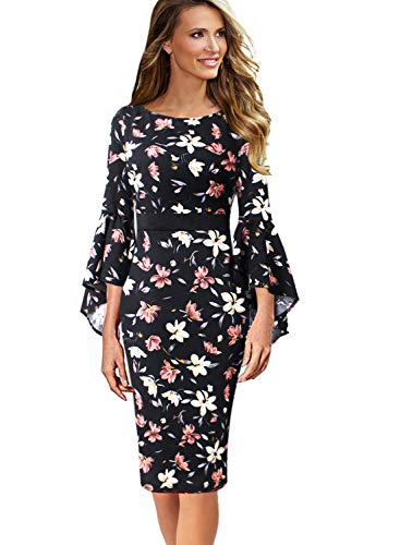 VFSHOW Womens Floral Print Ruffle Bell Sleeves Cocktail Party Sheath Dress 1678 FLW M