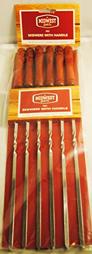 Wooden Handled Double Twist Chrome Plated Skewers Set of 6 (Cooking With A Brazilian Twist)