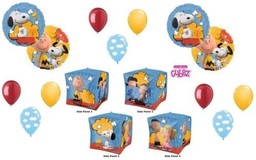 LoonBalloon SNOOPY Dog Woodstock PEANUTS Cloud Cubez Party (12) Mylar & Latex BALLOONS Set