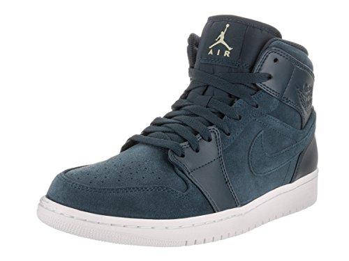 Nike Heren Air Jordan 1 Mid Basketbalschoen Blauw