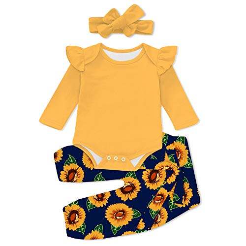 UNICOMIDEA Little Girls Sisters Halen Pants Romper Yellow Sunflower Pattern Bodysuit Clothes Set Outfit for 18-24 Month Baby Girls 3 Pieces Set Soft and Breathable Ruffled Layered Shoulder Onsies
