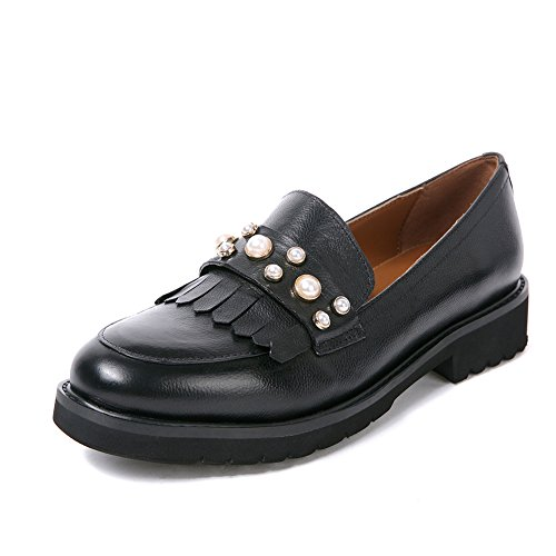 Women's Stylish Fringed Slip On Loafers Shoes Ladies Leather Tassel Round Toe Dress Pumps Platform Thick Sole Low Wedge Heel Oxford (10, Black B)