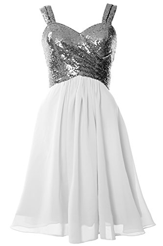 Bridesmaid MACloth Gorgeous Gray Cocktail Cowl Short Gown Sequin White Dress Formal Back xwUrwqt4