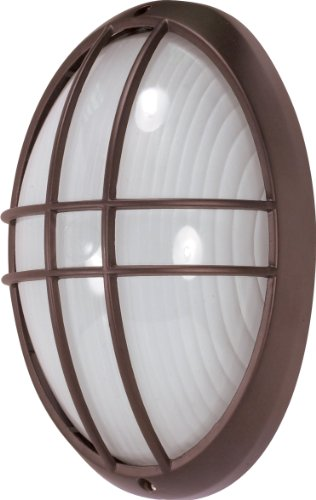 Light Fixtures Oval Bulkhead Cage - Nuvo Lighting 60/573 Bulkhead 1-Light Large Oval Cage Energy Star CFL, Architectual Bronze