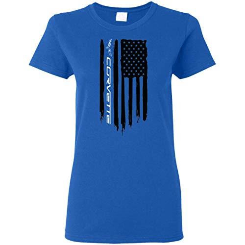 Wheel Spin Addict Women's Corvette C1 C2 C3 C4 C5 C6 C7 American Flag T-Shirt