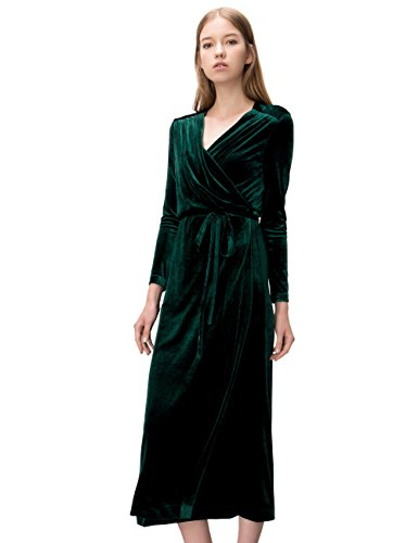 Simple Retro Women's V-neck Velvet Belted Wrap Maxi Long Dress (M, Green)