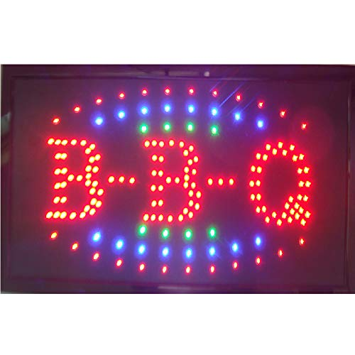 CHENXI LED BBQ Shop Open Sign special offer custom sign graphics semi-outdoor Ultra Bright flashing 1019 Inch BBQ store signboard (48 X 25 CM, B)