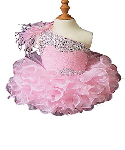 Beiji Baby Girls' One Shoulder Cupcakes Toddlers Feather Mini Pageant Dress 2/2T US Pink ()