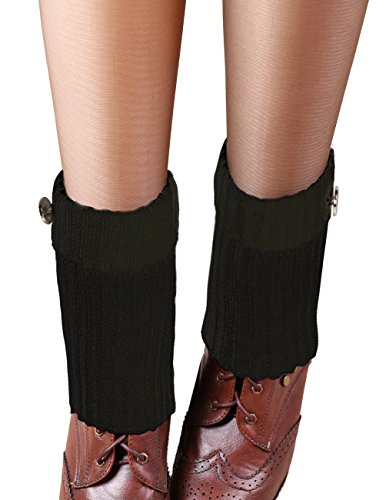 Dahlia Womens Knit Leg Warmers - Triple Buttons Boot Cuff Black jHl7n