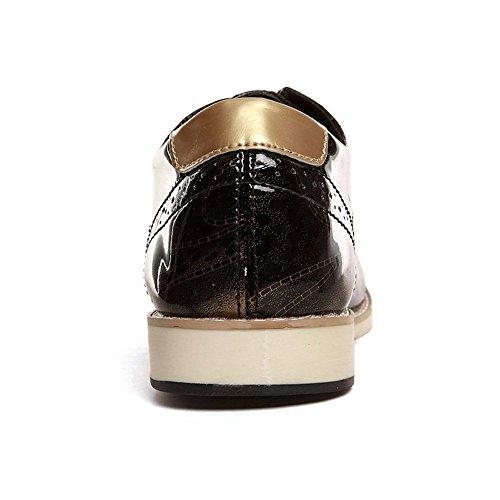 Con Estrecha De Gold Pu Cuero Los Oxford Plano Punta Negocios Tacón La Hombres Zapatos Cordones 4FR0qq