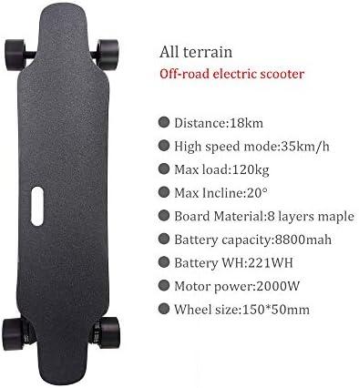 AFYH Skate Electrique, électrique Longboard Skateboard électrique Tout-Terrain télécommandé, 8800mAh de Grande autonomie, 22 km, la Vitesse maximale Peut Atteindre 35 km/h.