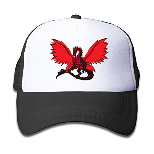 (Snapback Adjustable Boy and Girls Red Dragon Baseball Caps Mesh Kids Hat)