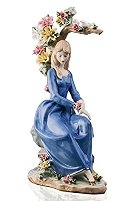 Lady in Blue Resting Under the Tree Pretty Woman Beauty Porcelain Figurine Statuette Figure Collectibles