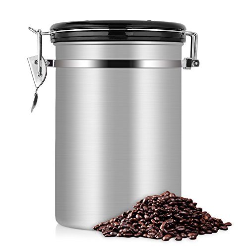 Large Coffee Container,Ground or Whole Beans Fresher for Longe,Stainless Steel Silver Vacuum Sealed Food Storage Container for Suger, Tea,Coffee(22 OZ)