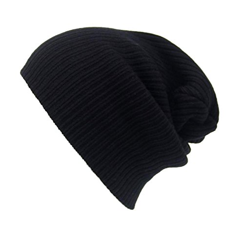 NEEKEY Men's Women Beanie Knit Ski Cap Hip-Hop Winter Warm Unisex Wool Hat(Free Size,Black)