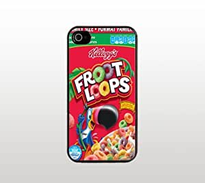 Fruit Loops Cereal Box iPhone 4 4s Case - Cool Black Plastic Snap-On Cover - Funny Design