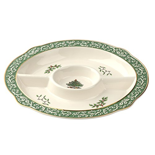 Spode Christmas Tree Embossed Chip & Dip (Low Dish Serving Oval)
