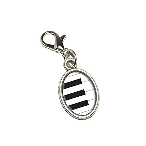 Graphics and More Piano Keys - Music Antiqued Bracelet Pendant Zipper Pull Oval Charm with Lobster Clasp