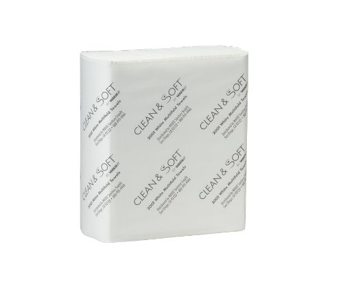 WAXIE 2001 Clean & Soft Multi-Fold White Paper Towel, 9.25'' X 9.4'' (Case of 4000) by Waxie