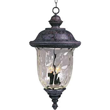 Maxim Lighting 3427WGOB Carriage House DC 3-Light Outdoor Hanging Lantern, Oriental Bronze Finish