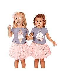 datework Toddler Baby Girls Ice Cream Cake Print Tops T-Shirt+Dot Tutu Skirts Outfits Set