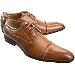 MM/ONE Mens Oxford Shoes Dress Lace Up Shoes Straight Tip Shoes Brown 46 EU (US Men's 12 M)