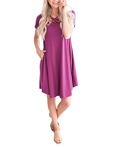 DUNEA Women Short Sleeve Criss Cross T-Shirt Dress with Pockets Casual Loose Swing Mini Dress for Women (Purple, X-Large) -