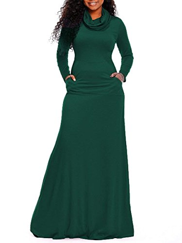 Rela Bota Women's Bodycon Long Sleeve Cowl Neck Plain Loose Casual Long Maxi Dress With Pockets X-Large Green