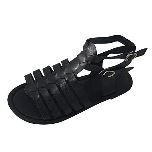 JJLIKER Women's Open Toe Ankle Strap Gladiator Flat Sandals Braided Cutout Low Heel Thong Flip Flops Slipper